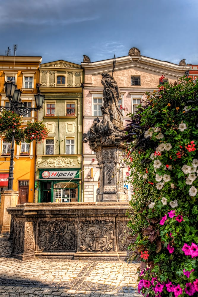 Fountain in Świdnica, Poland. The small main square (rynek) in Świdnica is worth a visit.