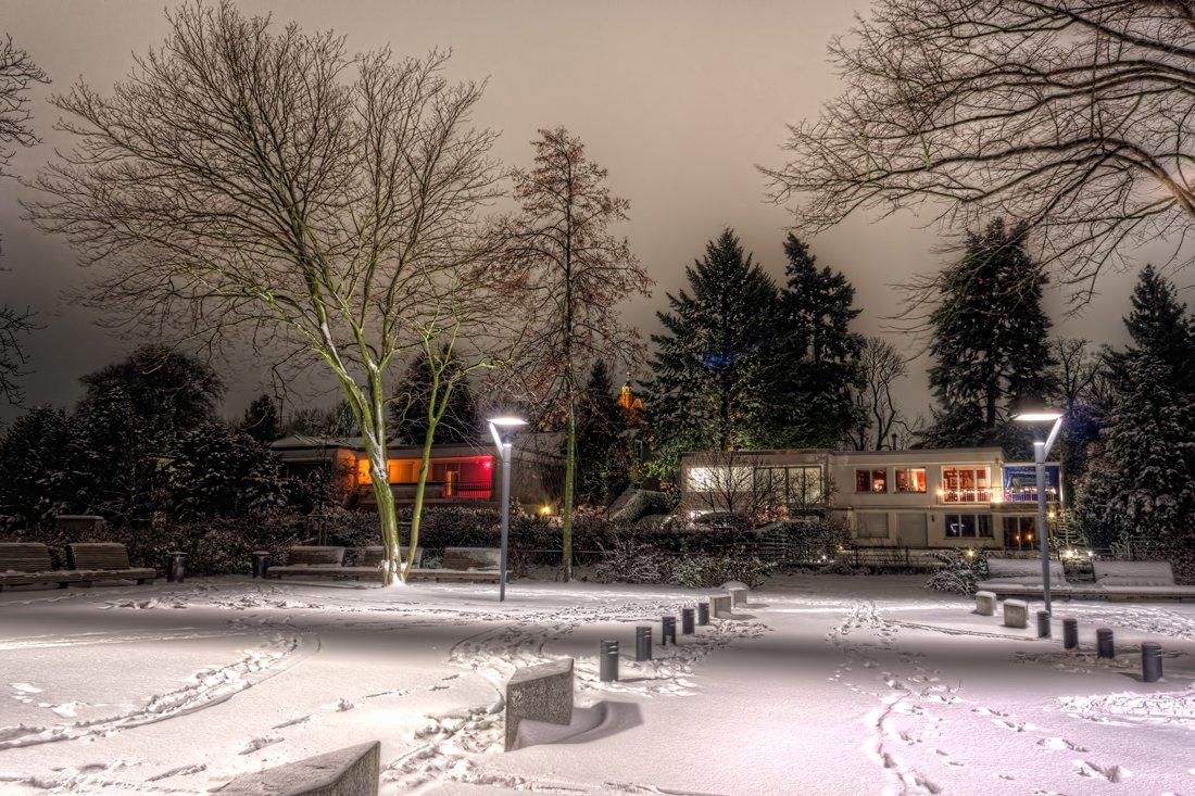 Verse sneeuw in Berlijn, Duitsland