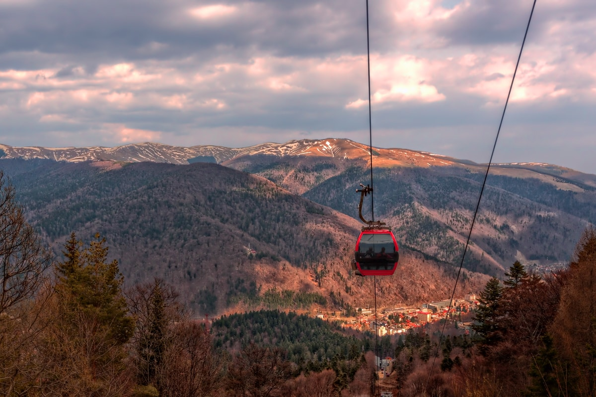Carpathian Mountains near Sinaia, Romania. Cable Car goes from Cota 1400 back to the valley.