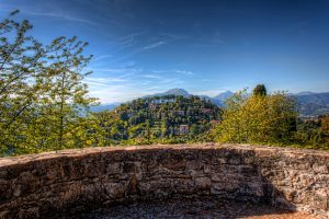 Bergamo in Italy. HDR Photo from top of Castello di San Vigilio
