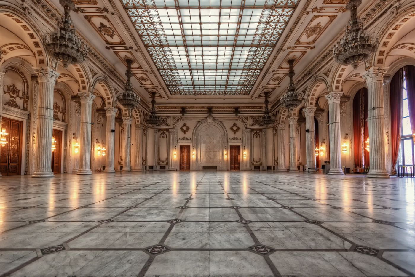 Ballroom in the Palace of the Parliament in Bucharest Romania. Marble hall as the biggest room of the biggest civil building in the world.