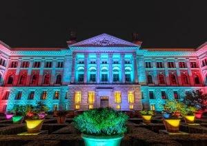 Bundesrat in Berlijn Duitsland. Verlicht op het Lichtfestival 2013