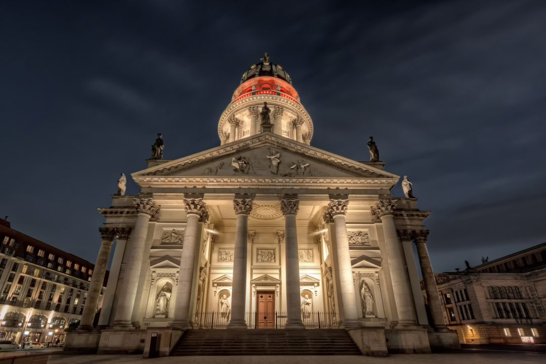 Deutscher Dom in Berlin, Germany. Illuminated during the Festival of Lights 2013
