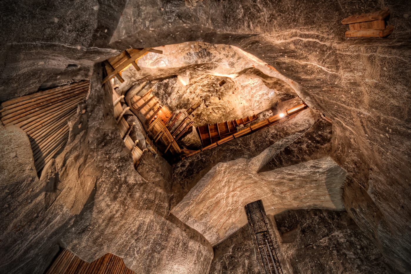 Stanislaw Staszic Chamber in the Wieliczka Salt Mine. Wieliczka, a village in Poland, was one of the first UNESCO World Heritage Sites.