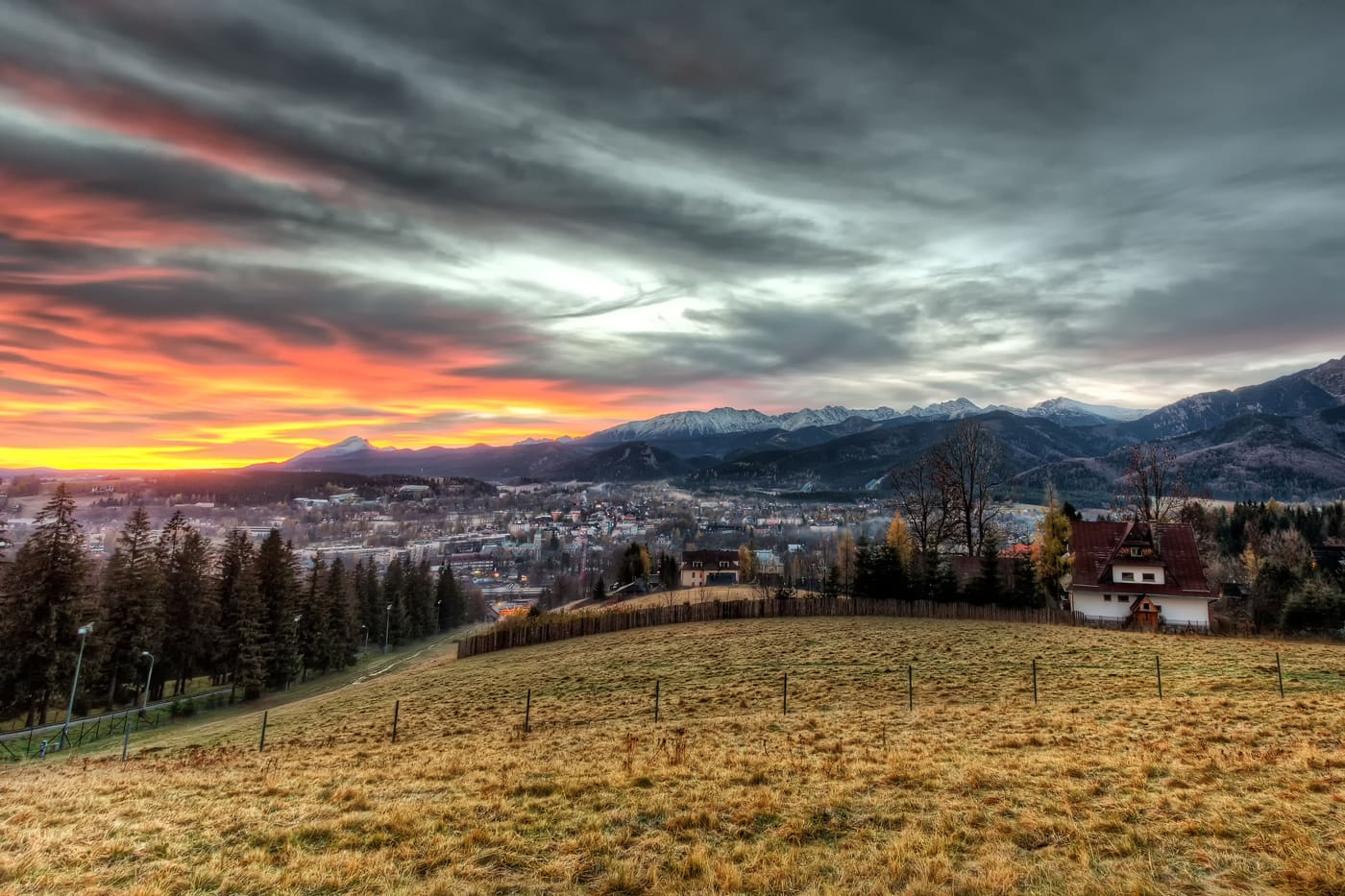 Zakopane and the polish Tatra Mountains during Sunrise.