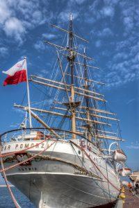 Dar Pomorza in Gdynia. HDR-foto van het museumschip in Polen