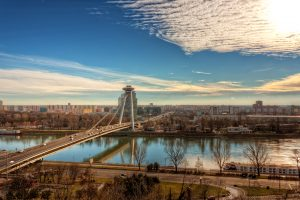Skyline of Bratislava along the Danube with the New Bridge and the UFO