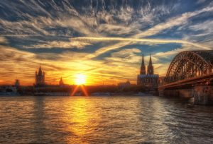 Cologne Cathedral and Skyline at Sunset