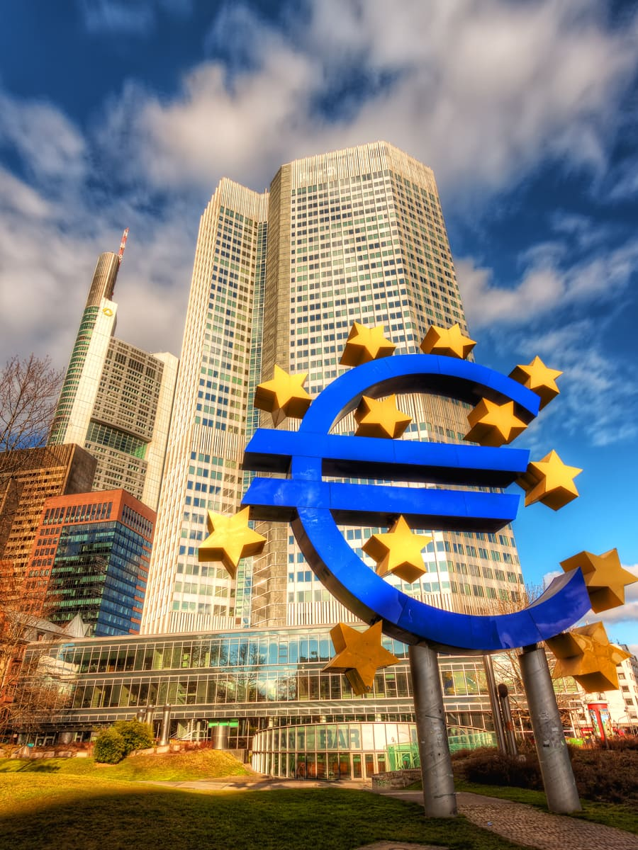 Euro Symbol and European Central Bank in Frankfurt (Main)