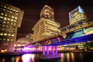 London Canary Wharf and DLR station at Night