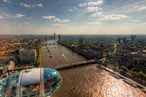 London Eye, uitzicht op het Paleis van Westminster