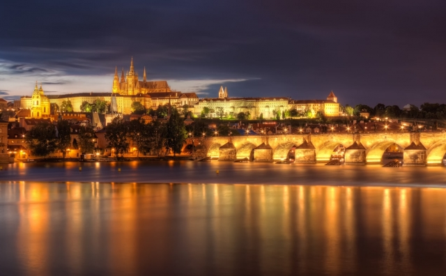 Prague Castle and Charles Bridge by Night