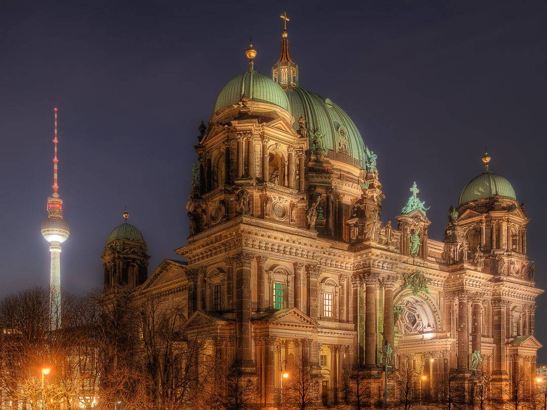 Berlin Cathedral and Television Tower at Alexanderplatz at night