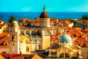 Dubrovnik, Croatia shows the towers of Dubrovnik Cathedral and Chruch of St. Blaise.