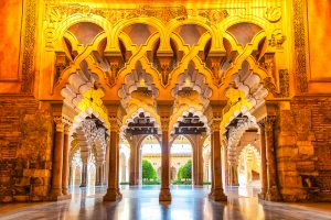 Aljaferia Palace Saragossa, Spain with unique architecture and different styles