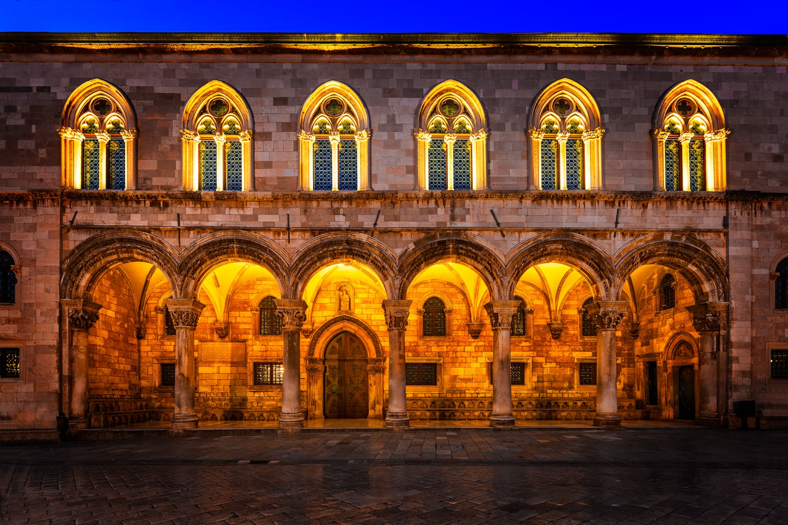 Rector's Palace in Dubrovnik, Croatia from 16th century is lit up by the light of the early morning.