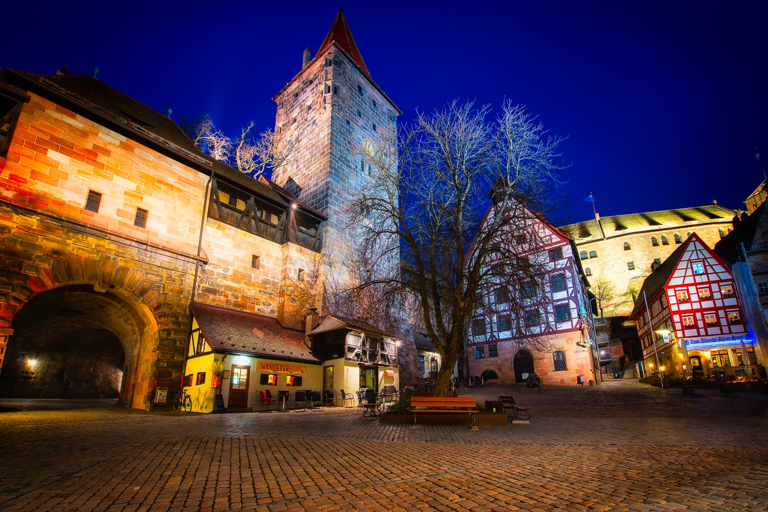Old City of Nuremberg, Germany with Nuremberg Castle by night.