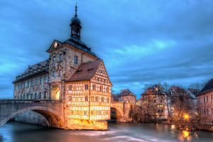 Bamberg Old Town Hall with deep blue sky