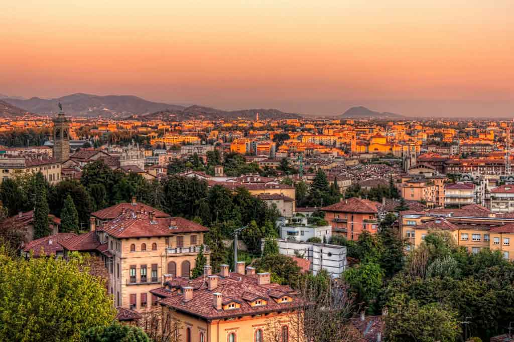 Bergamo's Lower City at Sunset