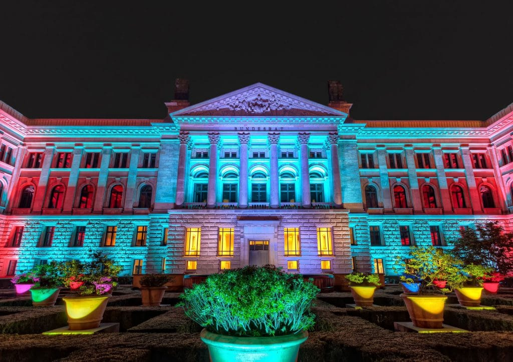 Bundesrat in Berlin Germany. Illuminated at the Festival of Lights 2013