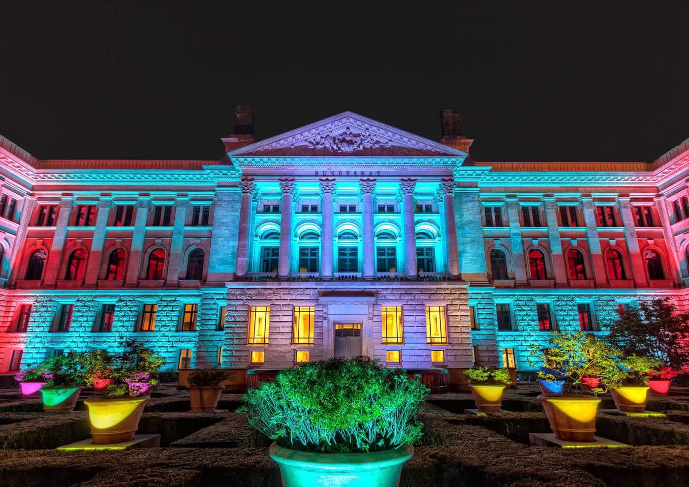 Bundesrat in Berlin Germany. Illuminated at the Festival of Lights 2013