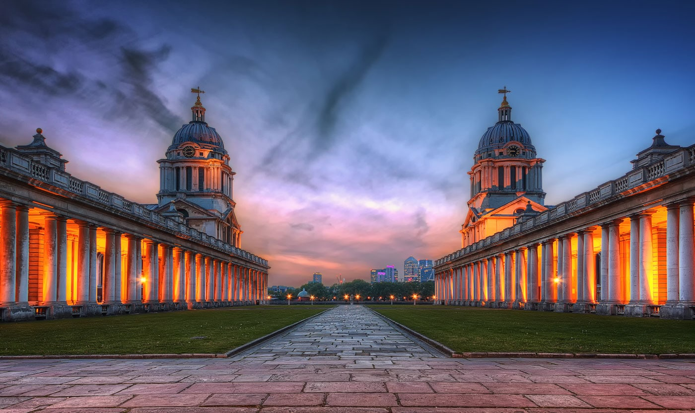 Greenwich University and Canary Wharf Skyline in London, England