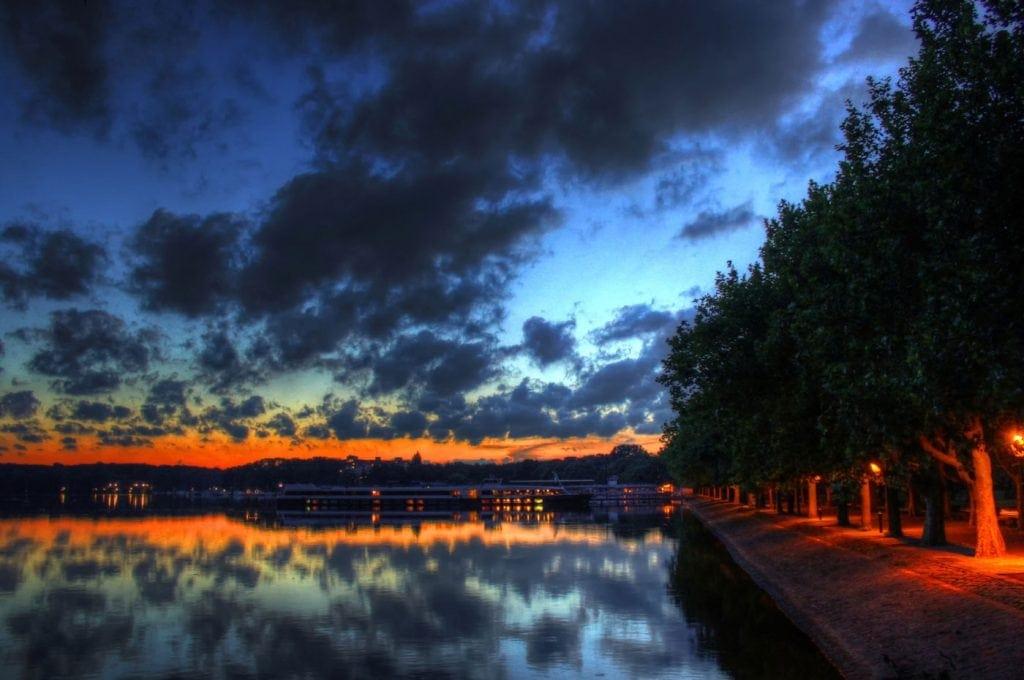 Lake Tegel and Greenwich Promenade at night