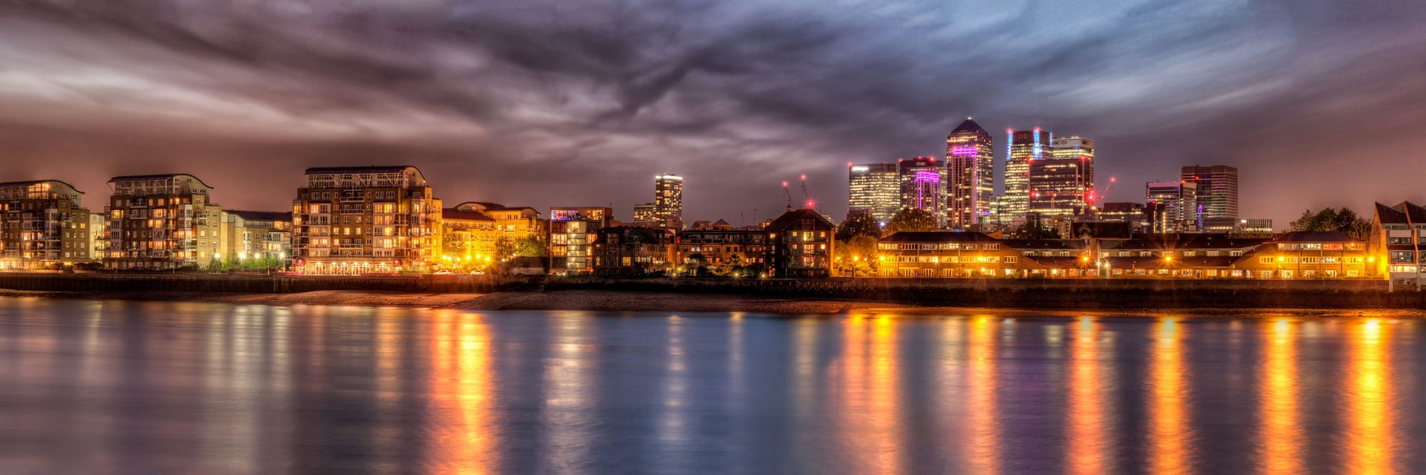 London Docklands and Skyline in a Night Panorama