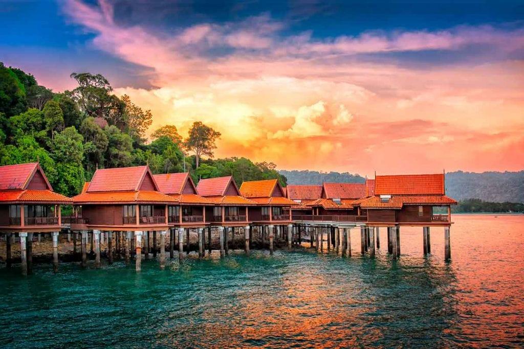 Water chalets in Langkawy, Malaysia. Berjaya Langkawi Resort under a dramatic sky.
