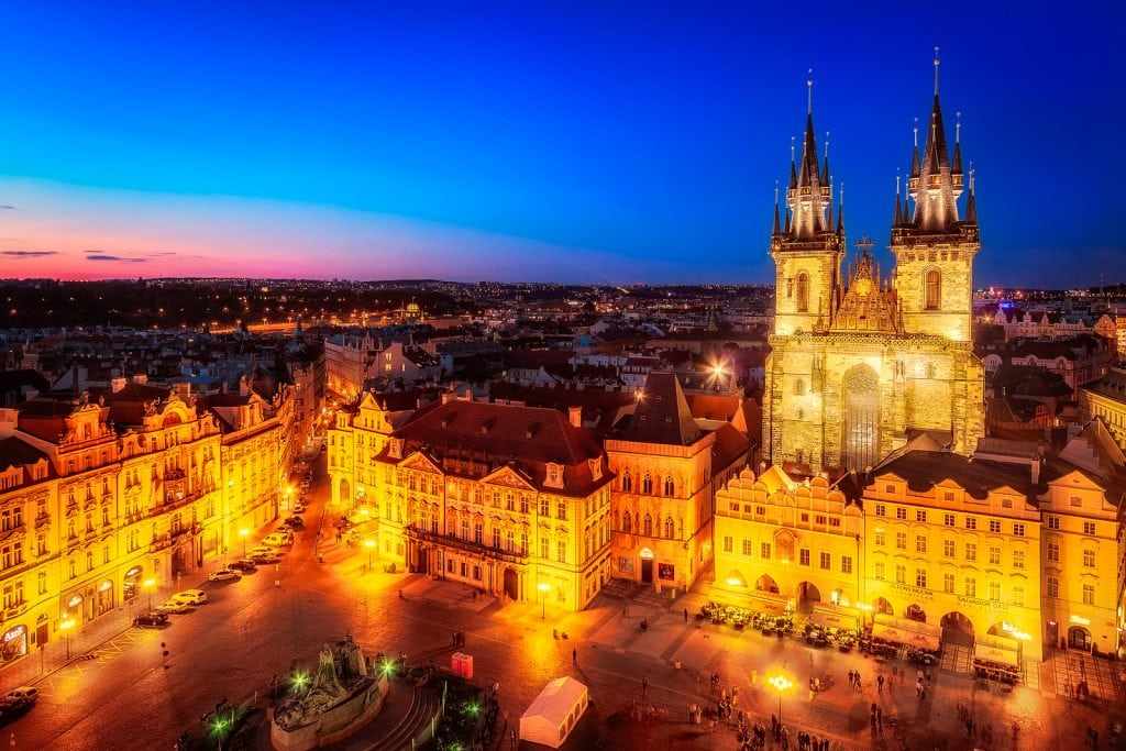 Old Town Square with Church of Our Lady before Tyn in Prague, Czech Republic at night.