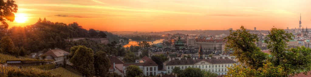 Prague Panorama of the Golden Vltava River