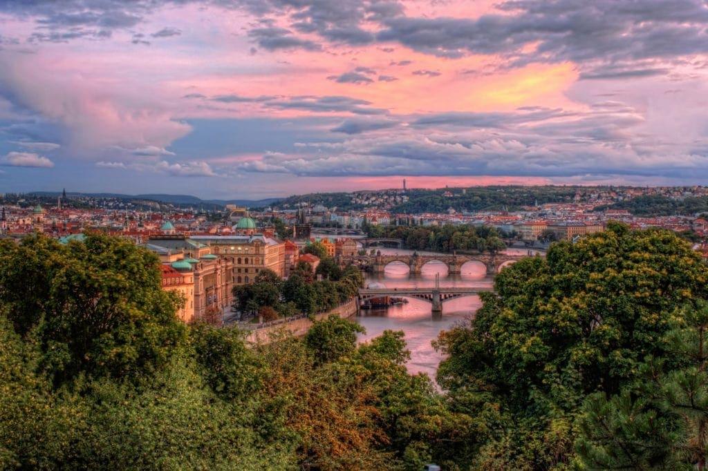 Prague seen from Letna Park. The Bridges on Vltava in pink Sunset light. HDR Photo from Czech Republic.