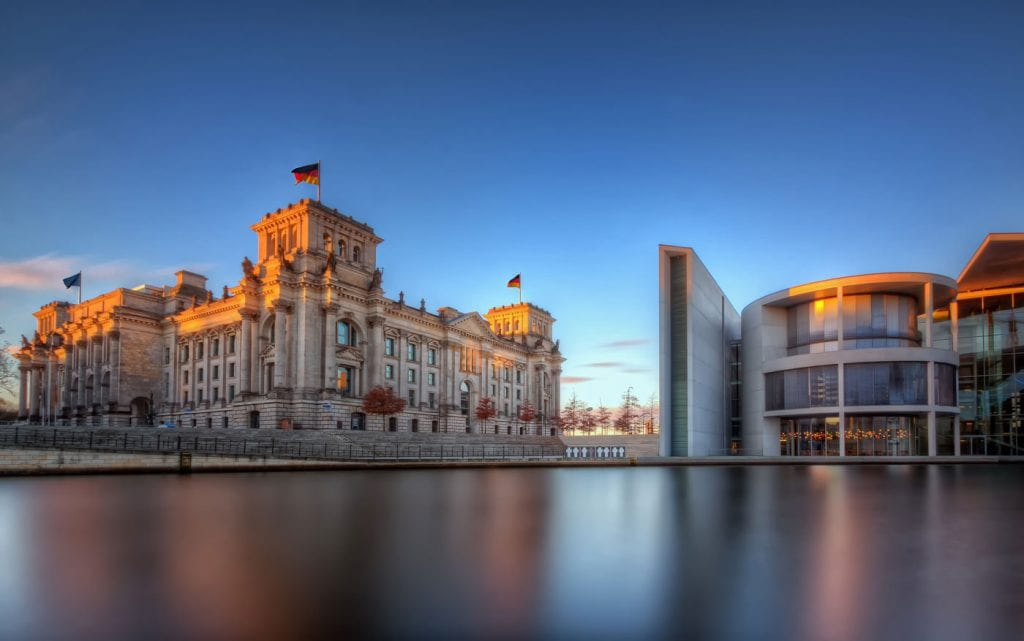 Reichstag building and Paul-Löbe-Haus in Government district on the river Spree in Berlin