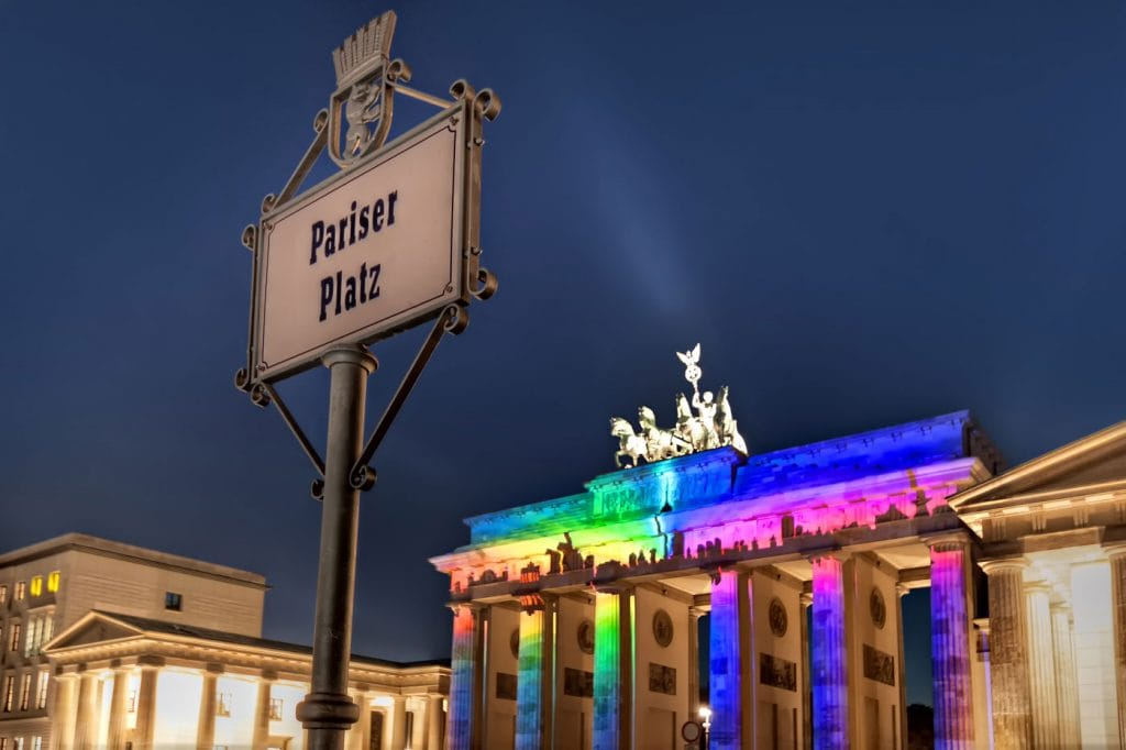 Brandenburg Gate in Berlin with a Skyline Display due to the Festival of Lights 2013