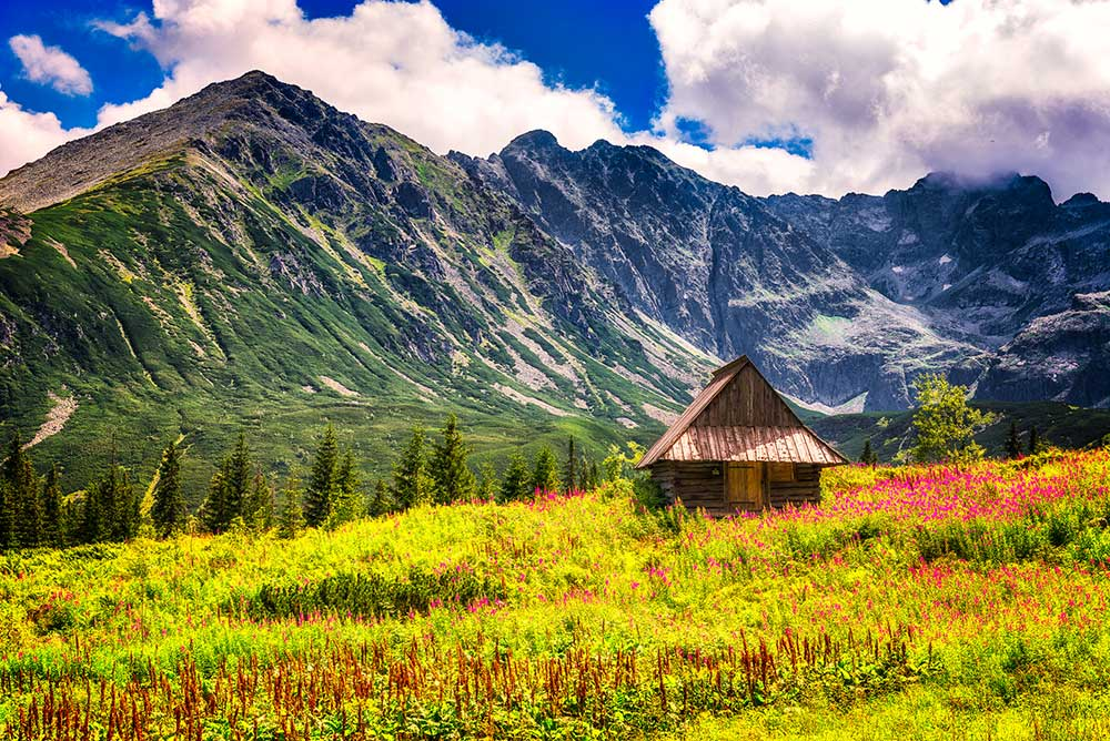The Hala Gąsienicowa cabin, which is located at the Tatra National Park in Poland.