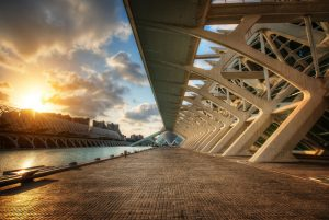 Sunset in City of Arts and Sciences in Valencia