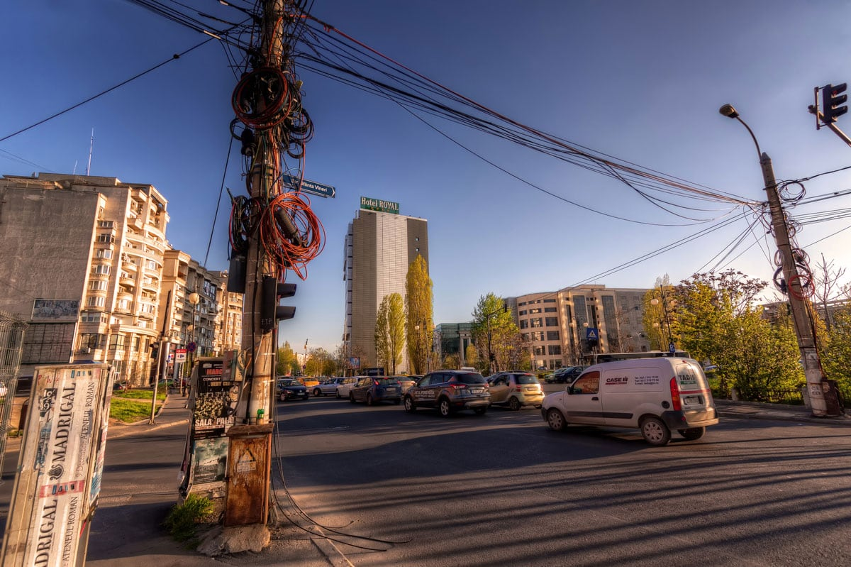 Cables in Bucharest, Romania. Everyday street scene in Bucharest