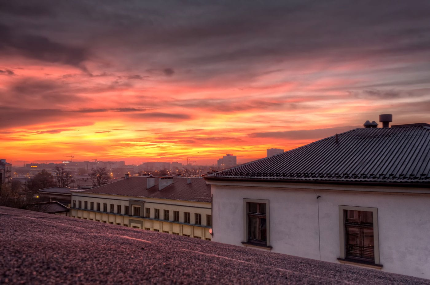 Sunrise over the Rooftops of the Jewish district Kazimierz in Kraków, Poland