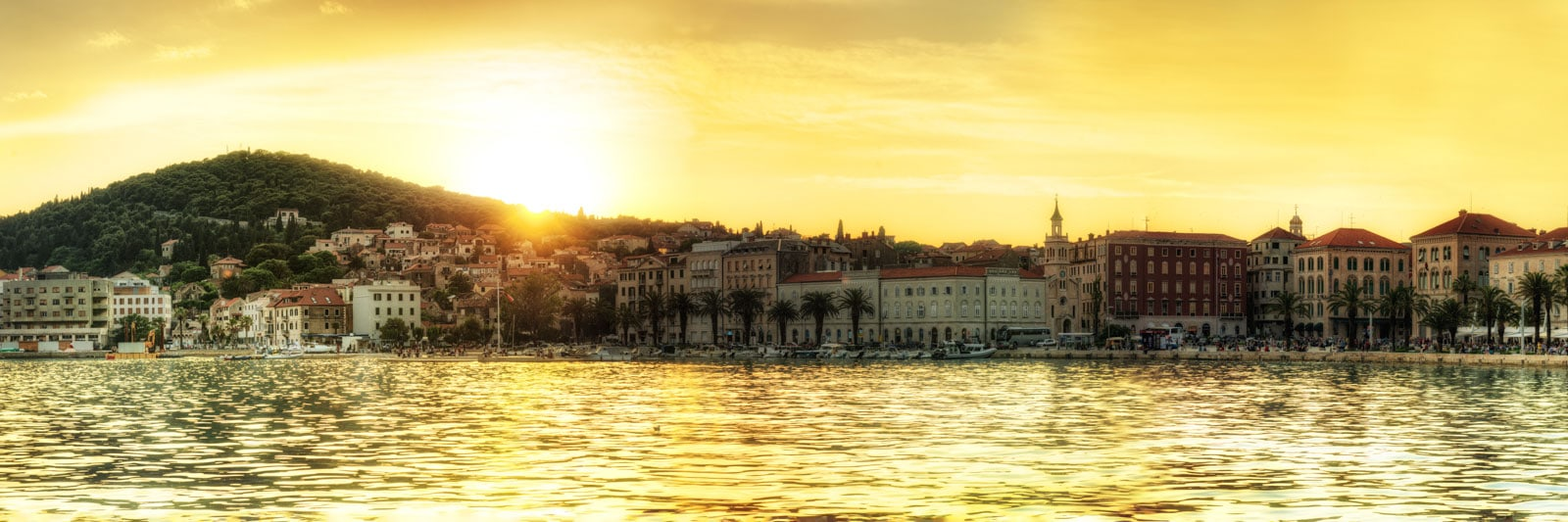 Sunset over Marjan Hill at the port in Split, the biggest city of Dalmatia in South-Croatia