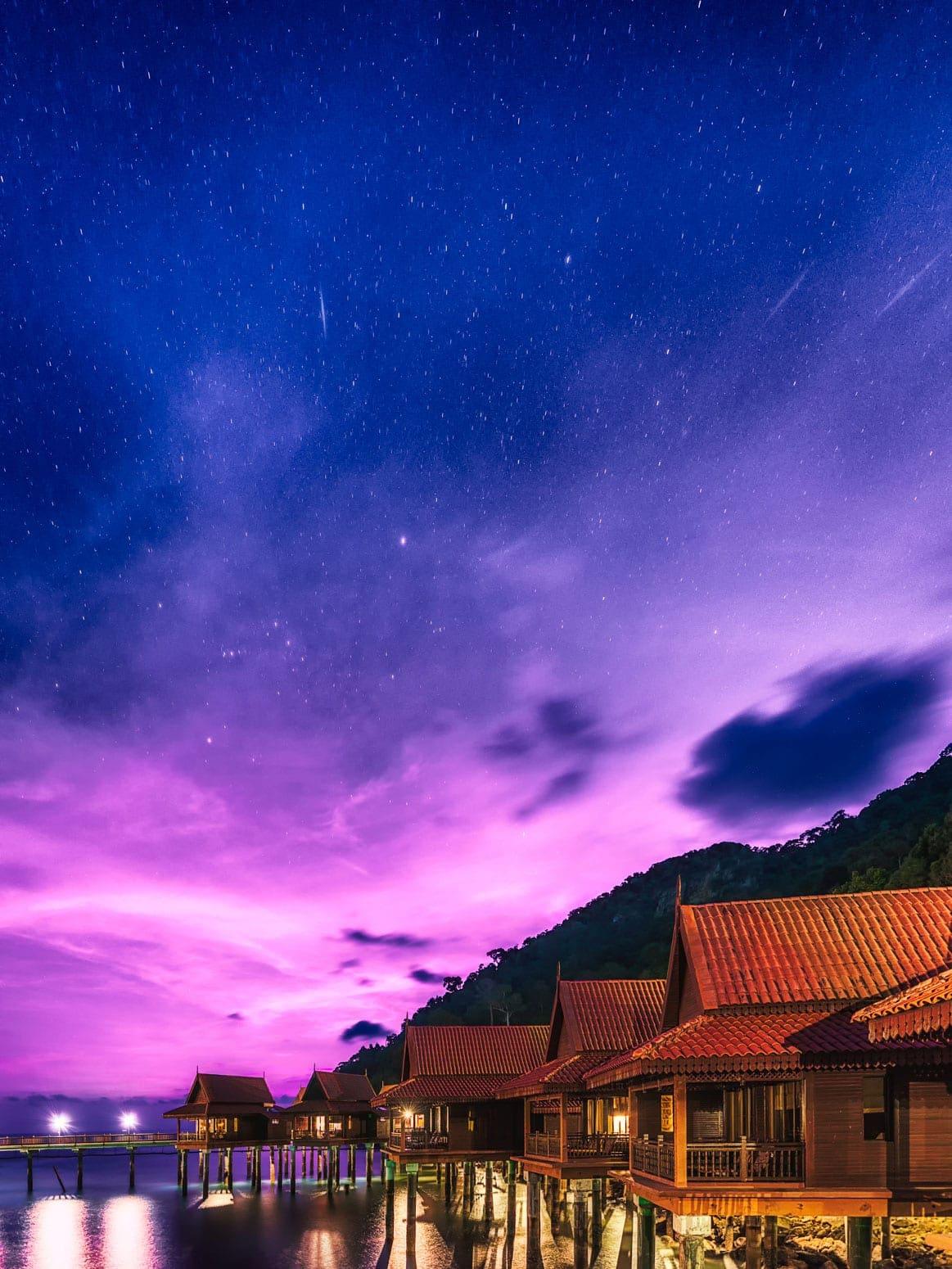 Sterne über Langkawi, Malaysia. Berjaya Langkawi Resort bei Nacht