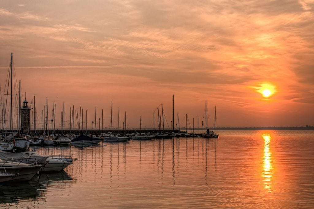 Port of Desenzano del Garda. HDR Photo of the sunrise at Lake Garda in Italy