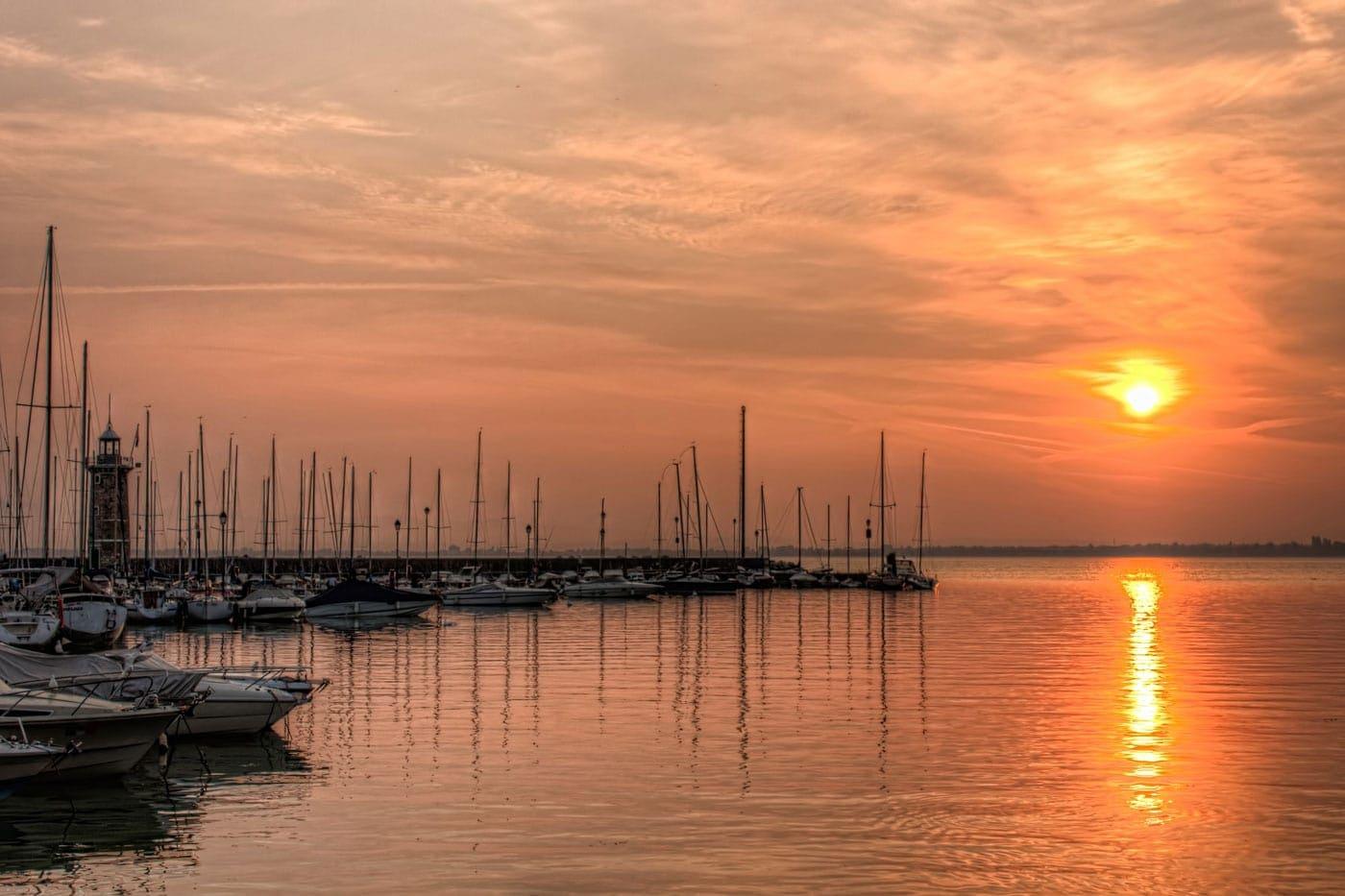 Port of Desenzano del Garda. HDR Photo of the sunrise at Lake Garda in Italy