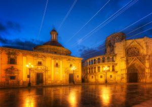 Plaza de la Virgen at night in Valencia, Spain
