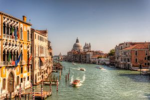View on the Grand Canal in Venice during a sunny day