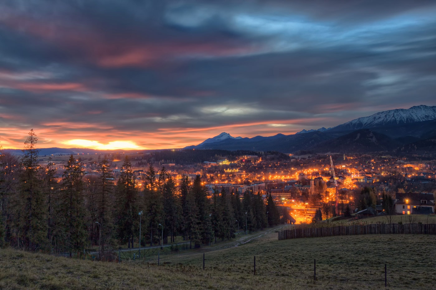 Zakopane and Tatra Mountains at Night from Gubalowka Hill. HDR Photo from Poland