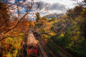 Metro train in Athens going trough Agora