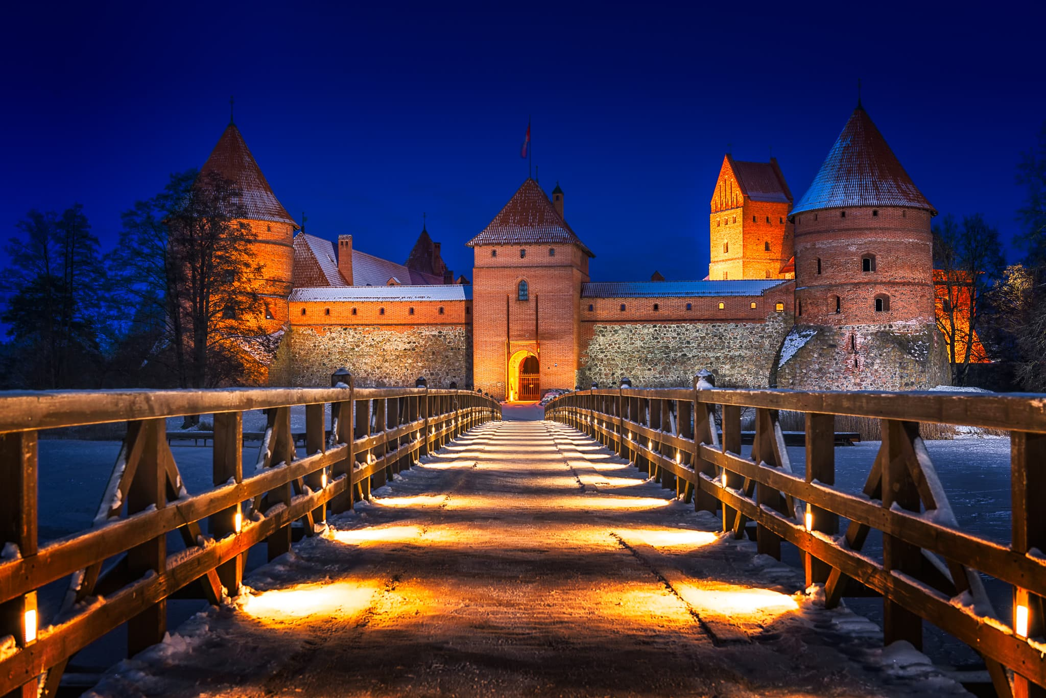 The Trakai Island Castle in Lithuania, which is close to the capital Vilnius during a winter evening.
