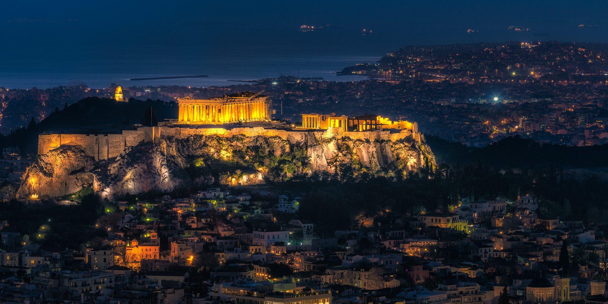 Parthenon in Athens enlighten during night