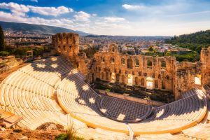 This is Odeon of Herodes Atticus - an ancient theatre in Athens, located in the vicinity of the Akropolis. Opera stars and famous musicians have made memorable performances there.