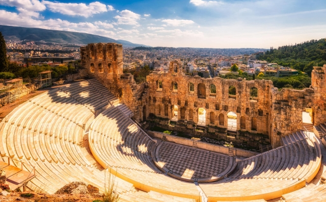 Odeon of Herodes Atticus, the ancient theatre during a sunny day in Athens